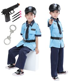 $enCountryForm.capitalKeyWord Australia - Halloween Cosplay Boys Kid Clothes Policemen Uniform Matching Hat Belt Toys 4T-9T Carnival Role Play Girl Prom Gown Costume