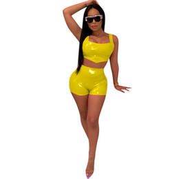 jogger outfit women NZ - Women two piece set jogger outfit suit stylish tracksuit sportswear PU leather Sling vest tops short pants plus size summer clothing S-2XL