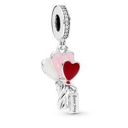 4b39448c5c0a Nueva Original 925 Grano de Plata de ley Mezclado Esmalte Encanto Corazón  Globos Colgante Encanto Fit Pandora Mujeres Pulsera Collar Diy Joyería