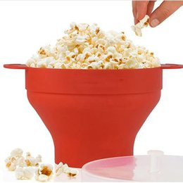 silicone microwave bowl UK - New Popcorn Silicone Folding Bowl Snack Box Popcorn Microwave Container Healthy Snack Household Popcorn Bucket