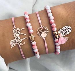 $enCountryForm.capitalKeyWord Australia - 4pcs  set! PINK Braided bracelet women handwear Charm tropical Pineapple BeadS Strands Shell Bracelet Beach wear holiday bohemian Jewelry