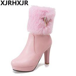 $enCountryForm.capitalKeyWord NZ - High Heels Martin Boots Women Shoes Warm Fashion Fur Boot Lady Round Toe Autumn Winter Short Boots Side Zipper Size 22-52