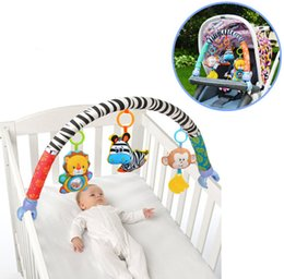 teether soft toy Canada - sozzy Zebra Rattles Baby Toy Crib musical bed play Hanging 88CM Soft Cute Cartoon Animal Stroller Teether 20%OffMX190917