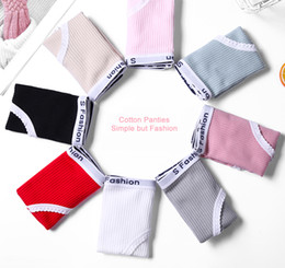 $enCountryForm.capitalKeyWord Australia - Fashion Women Thread Letter Mid Waisted Seamless Natural Color Lace Cotton Panties Women Briefs Girl Underwear 6 Colors Available