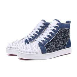 $enCountryForm.capitalKeyWord NZ - Blue Diamond Mens Shoes Genuine Leather White Spikes Men Designer Sneakers For Men Fashion High Top Mens Shoes Casual Tenis