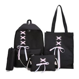 b3ae083ae89d Canvas Women Backpack 4pcs set Bandage Chain Backpack Women Travel Shoulder  Casual Student School with Pencil Case