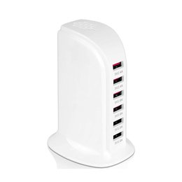 Wholesale chinese smartphones uk for sale - Group buy 6 Port W USB Portable Charging Tower Station Desktop Wall Charger Hub for Multiple Devices Tablets and Smartphones with Smart IC Detect