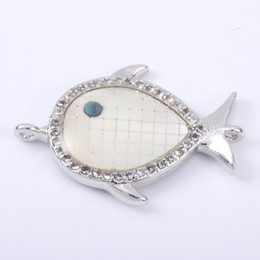 Micro Pave Connectors Australia - Singreal Abalone Shell Micro Pave Fish Charms Bracelet necklace Choker Pendant connectors for women DIY Jewelry making