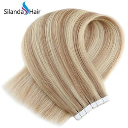 $enCountryForm.capitalKeyWord Australia - Silanda Hair Piano Color #P18K 613 Straight Remy Hair Tape In Extensions 20 Pcs pack Free Shipping