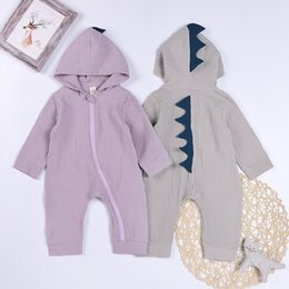 hooded headband Australia - Spring Fall INS Toddler Baby Boys Hoodies Rompers Hooded Jumpsuits Linen Cotton Oblique Zippy Long Sleeve Dinosaur Newborn Onesies for 0-2T