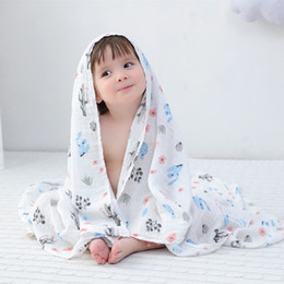 gauze towels NZ - Spring High-quality Bamboo Fiber Baby Towels Healthy Facecloth Kids Double Gauze Bath Towel 120*120cm Child Quilts Pure Color Washcloth