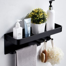 aluminum towel hook NZ - Wall Mounted Black Bathroom Rack Aluminum Bathroom Shelf with Hooks Bar Shower Caddy for Storage Shampoo Towel Organization