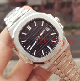 Wholesale 2019 Top Nautilus Sports Watch Men Automatic Monement Watches Silver Case Black Dial Stainless mens Mechanical Wristwatches