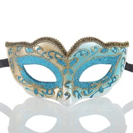 half face gold party masks UK - New children's half face gold powder mask party masquerade Venice creative masquerade mask Festive & Party Supplies