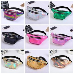 Fabric beach bag online shopping - 11styles Girls laser Waist bag Colorful Beach Travel Pack Fanny pack handbag Girls Belt Purse Outdoor Holographic Cosmetic Bags FFA1419