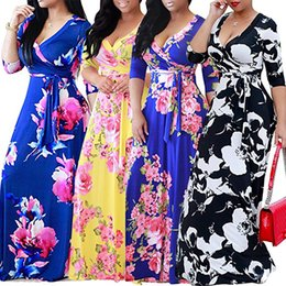 casual ankle length dresses sleeves 2019 - Women's short Sleeve Dresses Floral Print Maxi Long Dress with Sashes Deep V-Neck 2019 Spring Plus Size 3XL 4XL 5XL