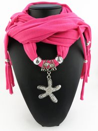 $enCountryForm.capitalKeyWord Australia - Tassels Scarf Women Charms Scarf Alloy Sea star Crytals Pendant Jewelry Scarves Necklace Scarf Foulard Echarpe Bandana
