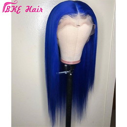 $enCountryForm.capitalKeyWord Australia - Stock simulation human hair lace wig Perruque Frontal Full blue color wig Long straight synthetic Lace Front Cosplay Wig For Women