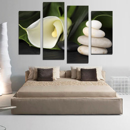 Discount calla lilies painting - 4 Panel Modern Painting Home Decoration Art Picture Paint on Canvas Prints painting White calla lily and stones Unframed