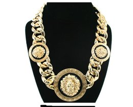 Wholesale lion sweater online – oversize Designer Luxury Hip hop High quality Alloy Oil dripping Lion head Necklace Jewelry Fashion Personality Exaggeration Collarbone Sweater chain