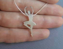 ballet necklaces Canada - 30pcs Elegant Dancing Ballet Girl Pendant Necklace Classic Beauty Lady Figure Necklace Jewelry Gift for Women