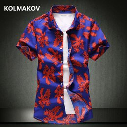 mens shorts 7xl Australia - 2019 summer mens shirt fashion casual men's Short sleeve shirts men High quality Leaf pattern shirts men full size M-7XL
