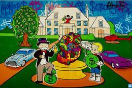 $enCountryForm.capitalKeyWord Australia - High Quality Alec Monopoly Handpainted & HD Print Graffiti Art Oil Painting Luxury Mansion On Canvas Wall Art Home Office Deco g104