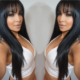 long hair straight bangs 2019 - Good quality Brazilian human hair front lace wigs silky straight full lace human hair wigs 130% density with bang natura