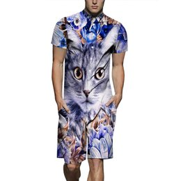 34703f1372b6 Mens 3D Cat Designer Suits One Piece Shirts Shorts 2pcs Clothing Sets Short  Sleeved Tops