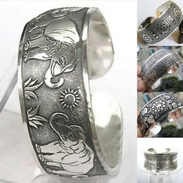 vintage silver wide bracelets NZ - Vintage Tibetan Silver Elephant Carved Open Bangle Cuff Wide Bracelet Jewelry