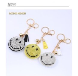 Trade Key Australia - New Creative Smiling Face Key Chain Key Link Water Diamond Key Jewelry Crafts Gifts Foreign Trade Customization Wholesale