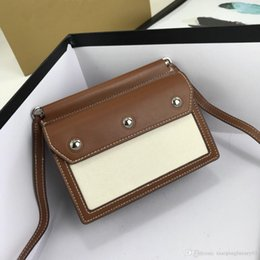 simple nail styles Australia - brown and white splice square lady handbags texture simple style genuine leather with silver small round nail button lady shoulder bags