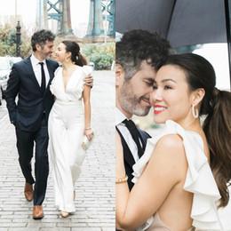 Plus Size Dresses Jumpsuits Australia - Country Bohemian Wedding Dresses Jumpsuits V Neck Backless Ruffle Satin Floor Length Bridal Gowns Plus Size Boho Wedding Dress