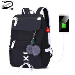 $enCountryForm.capitalKeyWord Australia - FengDong kids school backpack for girls school bags women shoulder bag fur ball bowknot backpacks for teenage girls dropshipping