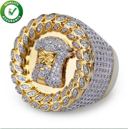 Vintage Cz Cluster Ring NZ - Hip Hop Mens Jewelry Rings Luxury Gold Plated Micro Paved Diamond CZ Pharaoh Round Rings Wide Wedding Finger Ring Crystal Bling Punk Vintage
