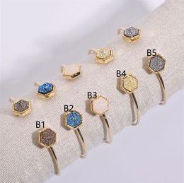 $enCountryForm.capitalKeyWord Australia - 2019 Druzy Drusy Bangle Bracelet Geometric Hexagonal Resin Stone Druse Open Cuff Gold Color Brand Jewelry for Women