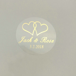 envelope sticker seals Australia - 150pcs 30mm Customize Gold Printing Personalised Clear Transparent Wedding Engagement Invitation Envelope Seals Sticker J190706