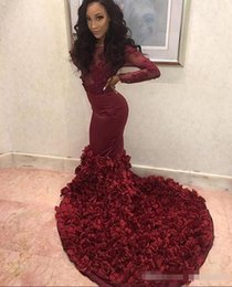 $enCountryForm.capitalKeyWord Australia - 2019 Sexy Burgundy Mermaid Prom Dresses Sheer Neck Long Sleeves Lace Appliques Beaded Rose Flowers Evening Dress Party Pageant Formal Gowns