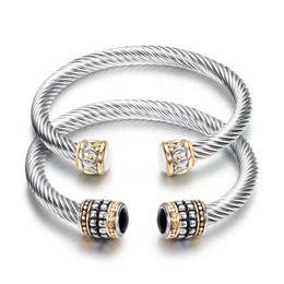 Precious stones bracelets online shopping - Bangles Jewelry Fashion Women Elegant Vintage Black White Semi precious Stone Bracelets Stainless Steel Open Bangles LR044