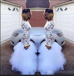 $enCountryForm.capitalKeyWord Australia - African White Mermaid Lace Prom Dresses for Black Girls Long Sleeves Ruffles Tulle Floor Length Plus Size Evening Prom Gowns Vestidos