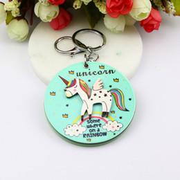 $enCountryForm.capitalKeyWord Australia - Round mirror unicorn acrylic keychain printing candy color lovely design keycharm promotional accessories decoration for keys&bags