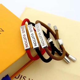 Großhandel Mode seil armband für männer frauen angepasst armreif rot / braun / schwarz edelstahl paar natur schmuck keine box jao76a
