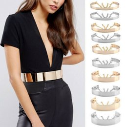 chained belt NZ - Women Full Metal Waist Mirror Wide Gold Silver Plate Waistband Chains Belt