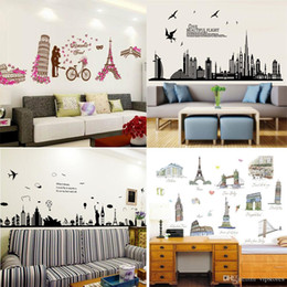 Black Wall Decal Stickers Australia - Mixed order Places of Interest cartoon wall stickers home decor world's famous building wall decal stickers kids room wall paper