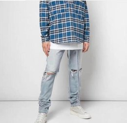 Wholesale 2019 NEW Similar Justin bieber Fear of God men jeans hip hop fog foot Side zipper Ribbon bleaching blue gray hole Casual jeans