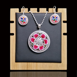 999 pendant NZ - Embroidery 999 Sterling Silver Jewelry Sets Handmade Pendant Necklace Set Drop Earrings For Women Luxury Jewelry Miao Silver