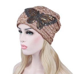 bbff124a 250PCS LOT Hat for Women Autumn Winter Lace Butterfly Beanie Cap Casual  Female Bonnet Cap