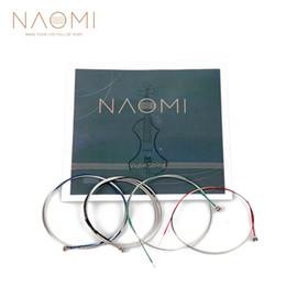 venda por atacado NAOMI Violino Corda Para 4/4 3/4 Violino Cordas Novas Cordas De Aço G D A E Cordas Violino Peças Acessórios SET