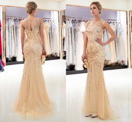 Wholesale Gold Crystals Beaded Designer Prom Dresses Jewel Neck Sleeveless Mermaid Sequined Evening Gowns Light Gray Celebrity Pageant Dress CPS1166