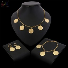 $enCountryForm.capitalKeyWord Australia - Yulaili Trendy Circle Design Gold Plated Turkey Women Jewelry Sets Pendant Chain Necklace Earring Bracelet Bridal Party Gifts